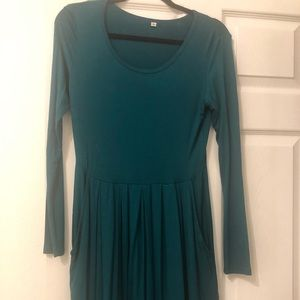 Long sleeve, pleated dress